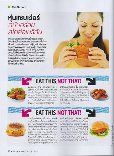 หุ่นแซบเว่อร์ ฉบับอร่อยสไตล์อเมริกัน 1 โดย นพ.สมบูรณ์ รุ่งพรชัย นิตยสาร Women's Health กค. 2556